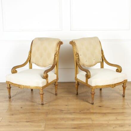 Pair of 19th Century Gilt Salon Chairs CH5117773
