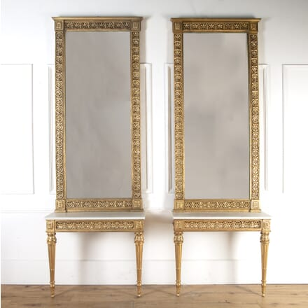 Pair of Gilt Console Tables with Mirrors CO8413912