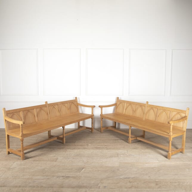 Pair of Gothic Oak Hall Benches SB0514014