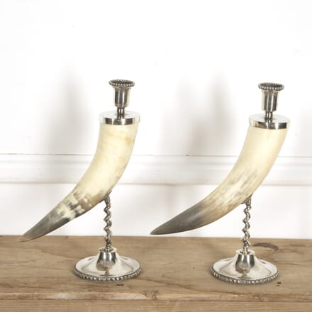 Pair of Horn and Silver Plate Candlesticks DA1516624