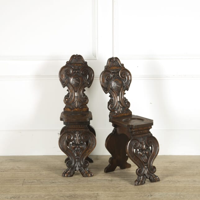 Pair of Italian 19th Century Hall Chairs CH889637
