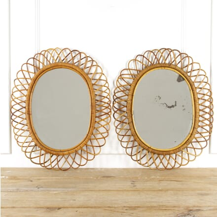 Pair of Italian Bamboo Mirrors MI4517160