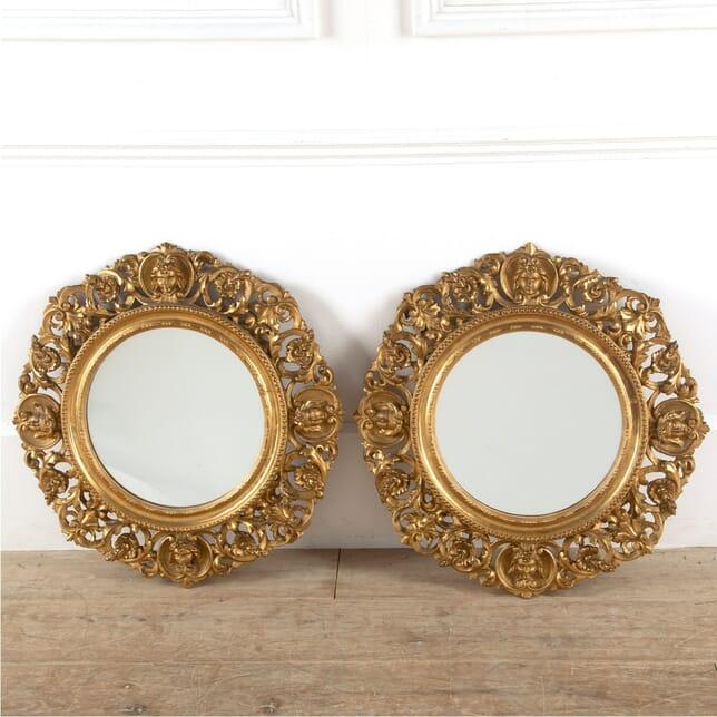 Pair of Italian Carved Giltwood Circular Wall Mirrors MI8811361