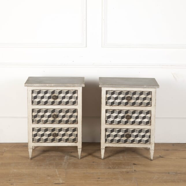 Pair of Italian Painted Bedside Tables with Drawers BD7112014