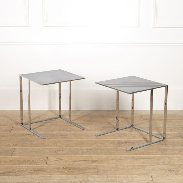 Pair of Italian Stainless Steel End Tables TC0516703