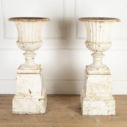 Pair of Large 19th Century Cast Iron Garden Urns DA8213884
