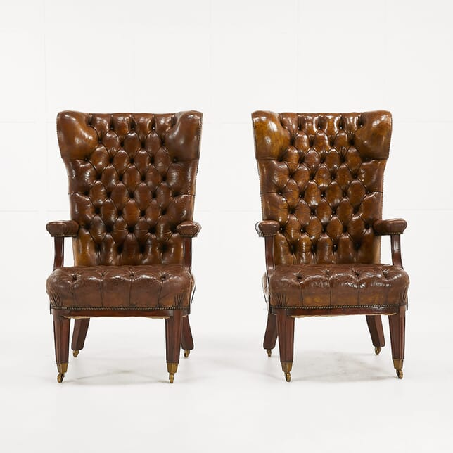 Pair of Large 19th Century Mahogany And Leather Library Chairs CH068942