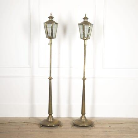Pair of English Brass Standing Lanterns LL4117011