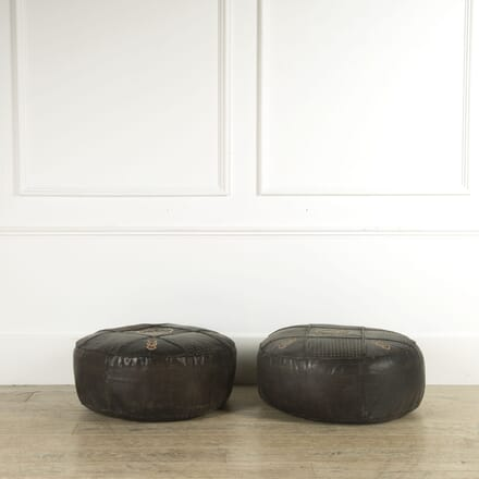 Pair of Large Vintage Leather Pouffes ST159324