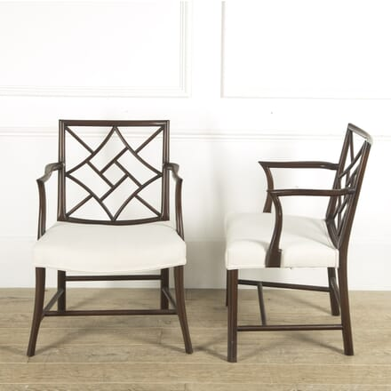 Pair of Late 19th Century Mahogany Open Armchairs CH889961