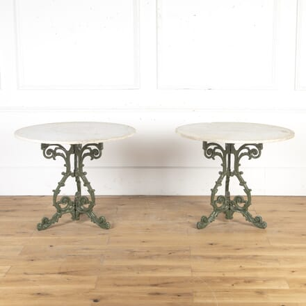Pair of French 19th Century Marble Topped Garden Tables GA9016102