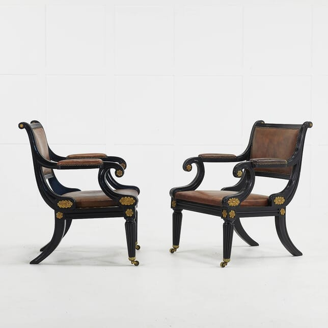 Pair of Late 20th Century Ebonised Regency Style Armchairs CH069467