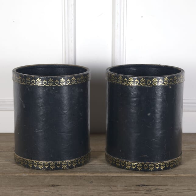 Pair of Leather Covered Paper Bins DA3610279
