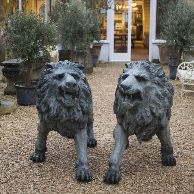 Pair of Life Size Cast Bronze Lions GA429190