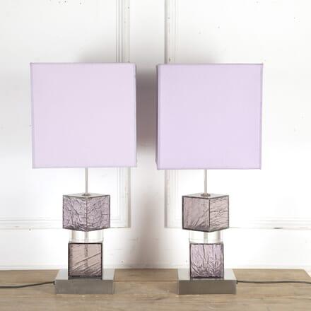Pair of Italian Lilac Perspex Lamps LT8715852