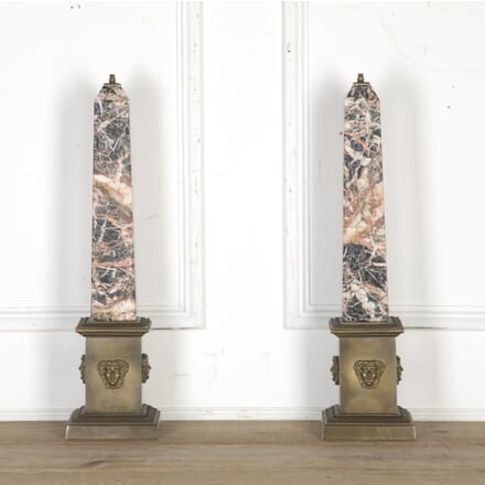 Pair of Marble Obelisk Lamps LL0314931