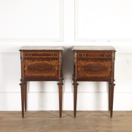 Pair of French 19th Century Bedside Tables with Marble Tops BD8513833