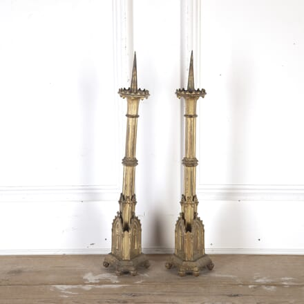 Pair of Metal Gilded Torchere Prickets DA8113946
