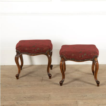Pair of mid 19th Century Walnut and Upholstered Stools ST8811363