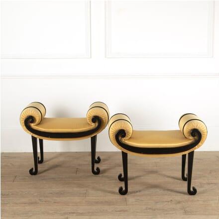 Pair Ebonised and Upholstered Window Seats ST8811366
