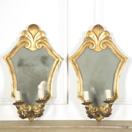 Pair of Mid Century Mirrored Light Wall Sconces LW599931