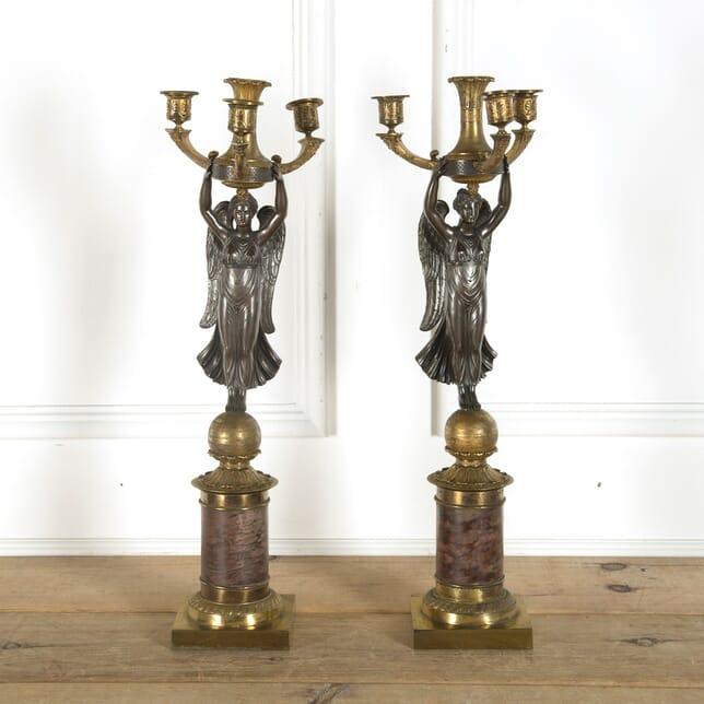 Pair of Napoleonic Period French Empire Gilt and Bronze Candelabra DA889701