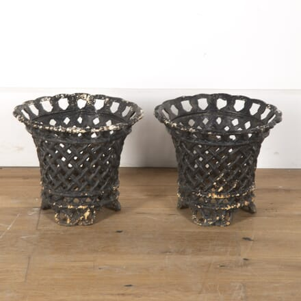 Pair of Painted Black Cast Iron Lattice Planters GA7913476