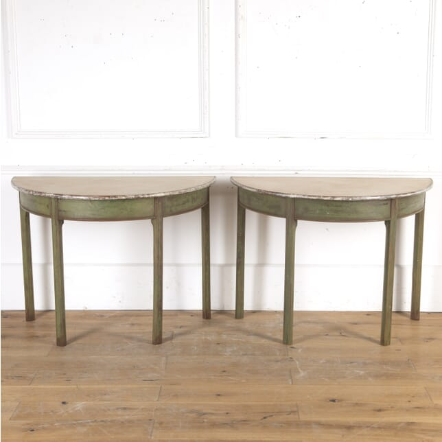 Pair of Painted Demi Lune Consoles CO7915749