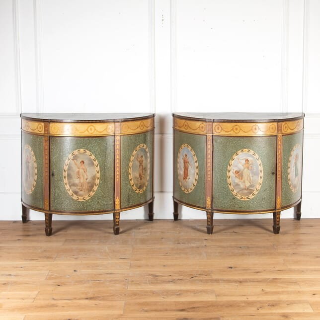 Pair of Painted Demi Lune Cabinets by Wright & Mansfield CC8013759