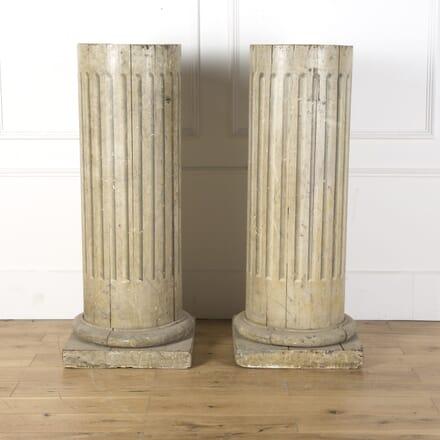 Pair of Painted Wooden Columns GA129846