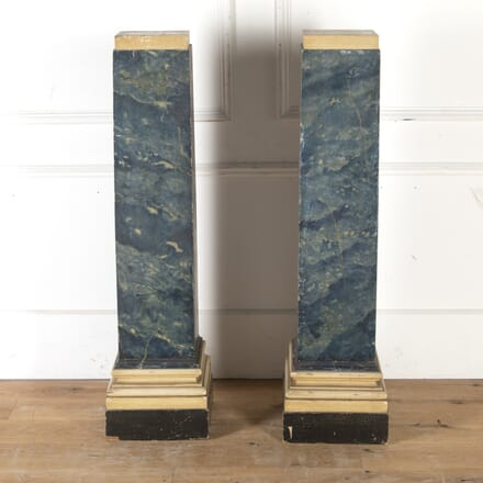Pair of Blue Painted Faux Marble Pedestals DA7913986