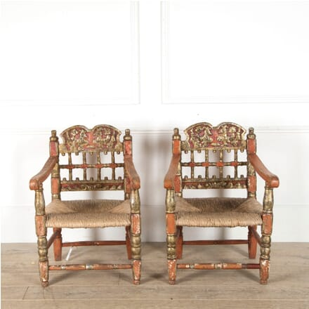Pair of Polychrome Spanish Armchairs CH1510054