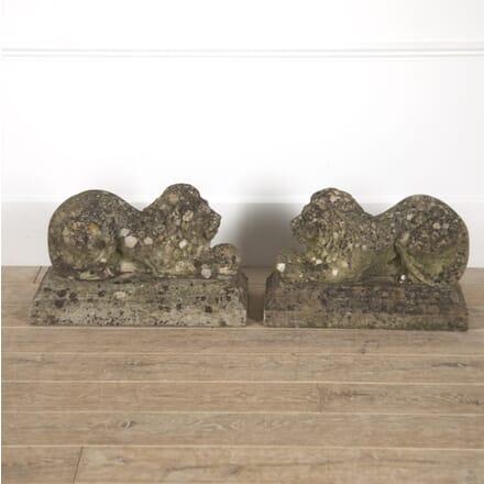 Pair of Recumbent Stone Lions DA8814837