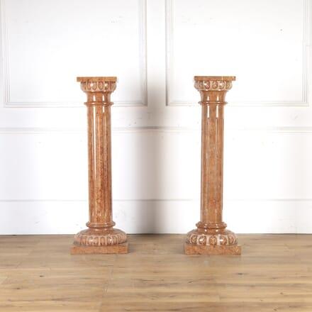 Pair of Rose Marble Pedestals GA8013791