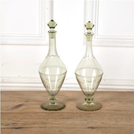 Pair of Scandinavian Smokey Green Glass Pedestal Decanters DA5811403