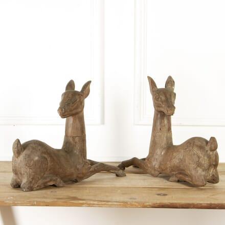 Pair of Seated Deer Papier-mache Moulds DA8017269