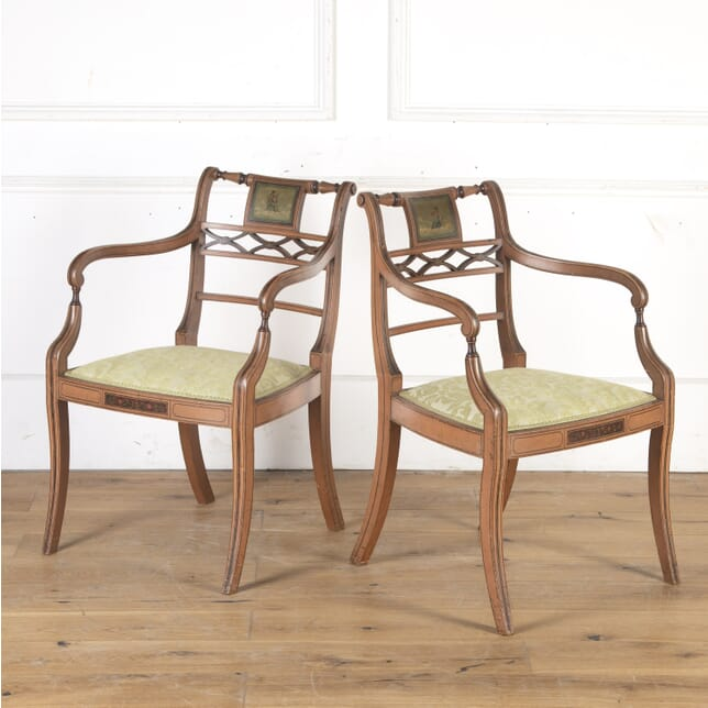 Pair of Sheraton Revival Painted Armchairs CH8013763