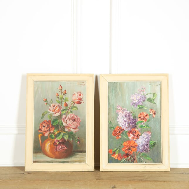 Pair of Signed Still Life Paintings by Marcel Abougit WD159060