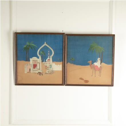 Pair of Silk Embroidered Desert Scenes WD1311139