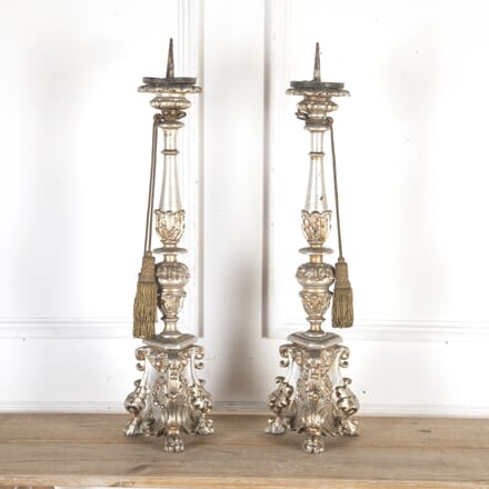 Pair of Silvered Baroque Altar Candlesticks DA8013793