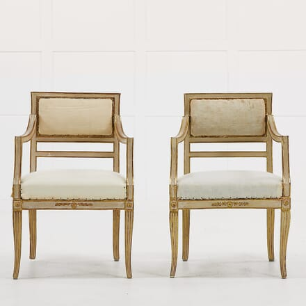 Pair of Small Italian Gilt and Paint Chairs CH068941