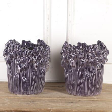 Pair of Handmade Spanish Glazed Planters GA8716661