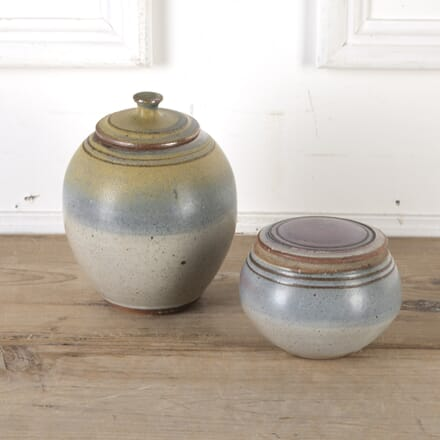 Pair of Stoneware Vessels with Lids DA9913729