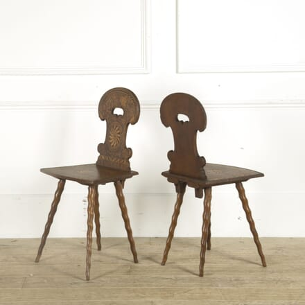 Pair of Unusual Carved Austrian Hall Chairs CH019390