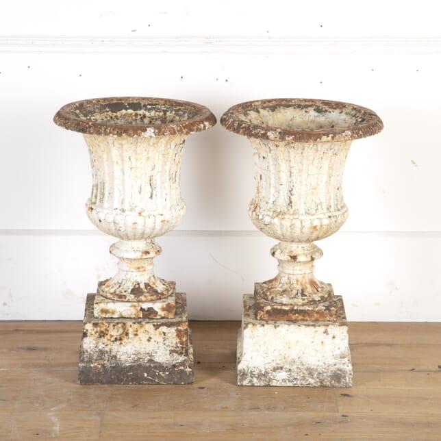 Pair of Victorian Cast Iron Campagna Urns GA8113825