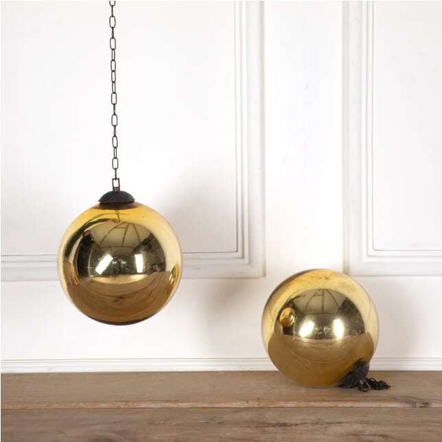 Pair of Vintage Gold Witches Balls DA1310780