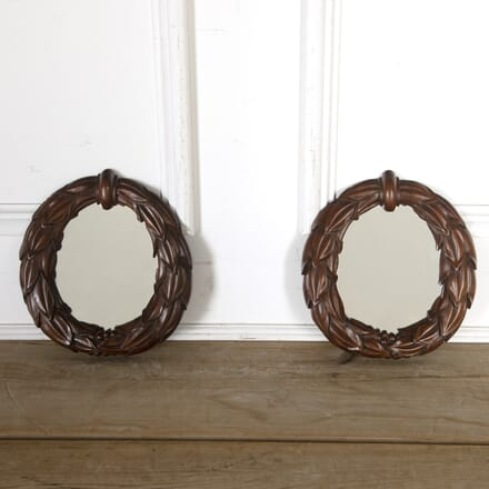 Pair of William IV Mahogany Laurel Wreath Mirrors MI5813529