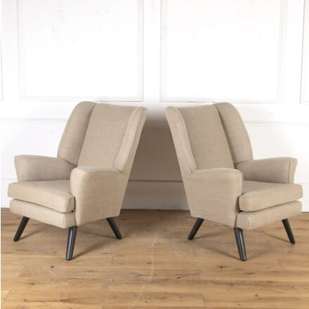 Pair of English Mid Century Wingback Armchairs CH4316543