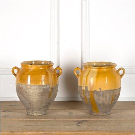 Pair of Yellow Confit Pots DA1510034