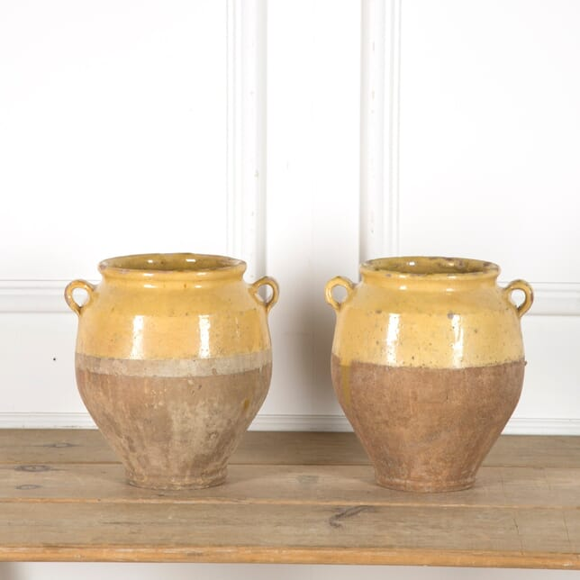 Pair of Yellow Confit Pots DA1510040